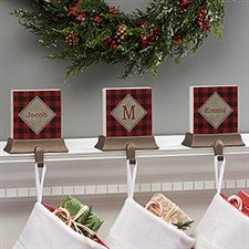 Cozy Cabin Personalized Buffalo Check Stocking Holders - 21950