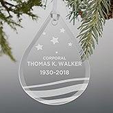 Military Memorial Teardrop Engraved Glass Ornament - 21958