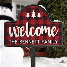 Personalized Buffalo Check Garden Sign - Cozy Cabin - 21963