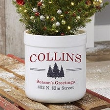 Vintage Holiday Personalized Outdoor Flower Pot - 21967