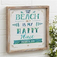 The Beach Is My Happy Place - Personalized Wall Art - 21973