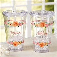 Floral Name Personalized Insulated Tumbler With Lid & Straw - 22000