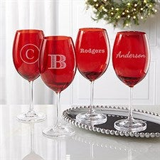 Engraved Red Crystal Wine Glasses - Name or Monogram - 22006