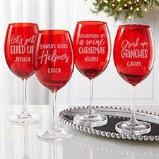Christmas Puns Engraved Red Crystal Wine Glasses - 22008