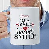 Personalized Oversized Coffee Mug - You Make My Heart Smile - 22042