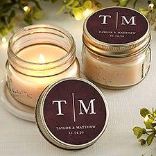 Personalized Mason Jar Candle Wedding Favors - Dark & Moody - 22050
