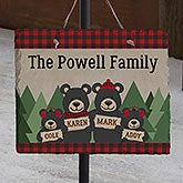 Holiday Bear Family Personalized Slate Plaque - 22081