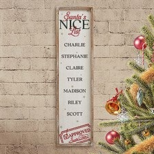 Santa's Nice List Personalized Barnwood Frame Wall Art - 22086