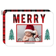 Buffalo Plaid Merry Photo Christmas Cards - 22094
