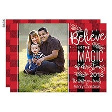 Believe in Magic Buffalo Check Photo Holiday Cards - 22142