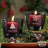 Holiday Icons Kosta Boda Bruk Personalized Grey Votive - 22176