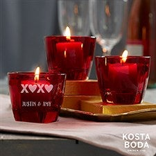 Romantic Kosta Boda Bruk Personalized Red Votive Set - 22179