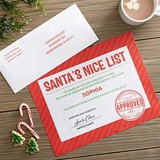 Personalized Santa's Nice List Certificate - 22208