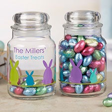 Easter Bunny Family Personalized Easter Candy Jar - 22226