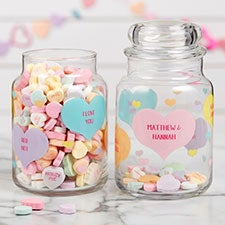 Conversation Hearts Personalized Candy Jar - 22238