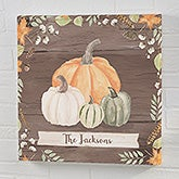 Autumn Pumpkins Dark Wash Personalized Canvas Prints - 22244