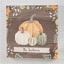 Autumn Pumpkins Dark Wash Personalized Canvas Prints - 22244