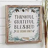 Thankful Fall Floral Personalized Framed Wall Art  - 22269