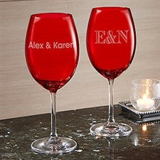 Engraved Name or Monogram Red Crystal Wine Glass - 22307