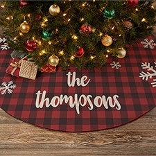 Cozy Cabin Personalized Buffalo Check Christmas Tree Skirt - 22311
