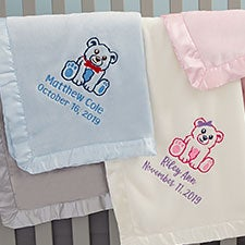 Embroidered Teddy Bear Baby Blankets - 22316