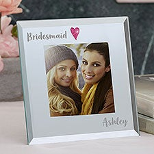 Personalized Heart Glass Mini Frame for Bridesmaid - 22319