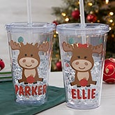 Christmas Moose Personalized Insulated Acrylic Tumbler - 22323