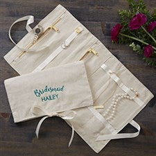 Bridal Party Embroidered Linen Jewelry Roll  - 22357