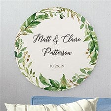 Laurels Of Love Personalized Round Wood Sign - 22392