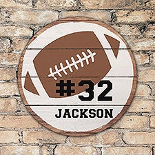 Personalized Round Wood Football Sign - 22394