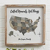 Barnboard Map Personalized Wood Framed Wall Art  - 22404
