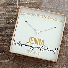 Bridesmaid Necklace With Personalized Display Card - 22424