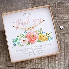Thank You Necklace With Personalized Floral Display Card - 22425