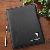 Medical Notes Personalized Black Leather Portfolio - 22451