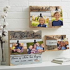 Family Photo Clip Frame Personalized Reclaimed Wood - 22468