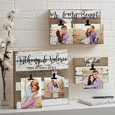 Personalized Reclaimed Wood Photo Clip Frames - 22469