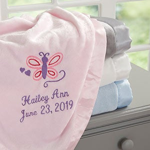 30/'/' BY 30/'/' LIGHT PINK HONEY BABY BLANKET W// BIRDS /& BUTTERFLY EXTREMELY SOFT
