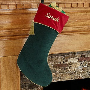Personalized Christmas Stockings - Green Velvet - 12476-G
