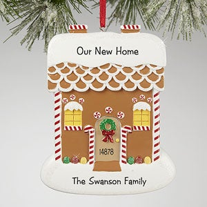Gingerbread House Greetings Personalized Ornament