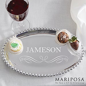 Mariposa String Of Pearls Personalized Oval Tray
