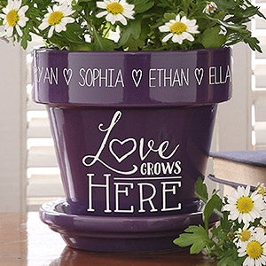 Love Grows Here Personalized Flower Pot Purple