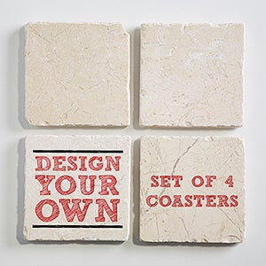 Design Your Own Personalized Tumbled Stone Coaster Set 15755