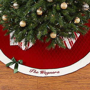Winter Classic Personalized Quilted Tree Skirt w/Bow - 16349