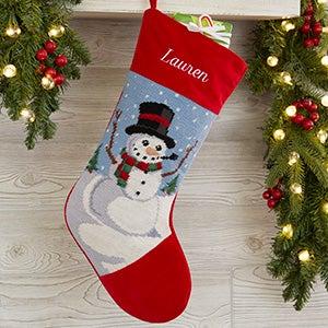 Personalized Needlepoint Christmas Stockings - Snowman - 17317-SM
