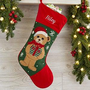 Personalized Needlepoint Christmas Stockings - Teddy Bear - 17317-TB