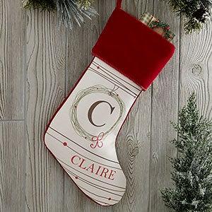 Holiday Wreath Monogrammed Burgundy Christmas Stocking - 17446