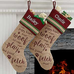 Merry Paws Personalized Dog Christmas Stocking - 17775