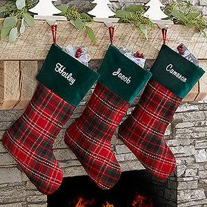 Holiday Plaid Personalized Christmas Stocking - 17895