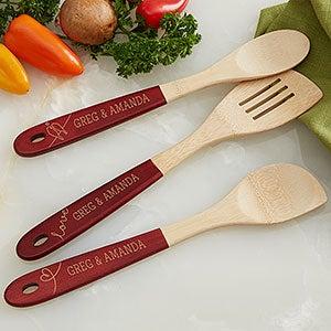 Ustensiles de cuisine personnalisés en bambou à manche rouge Lovebirds - Ensemble de 3 pièces - 18857