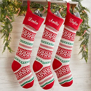 Holiday Sweater Personalized Jumbo Knit Christmas Stockings - Red & Green - 19001